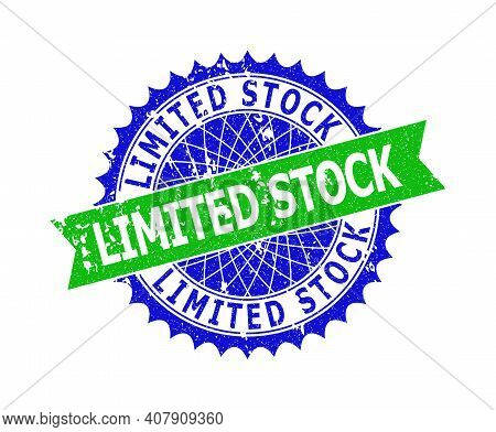 Vector Limited Stock Bicolor Stamp Seal With Scratched Texture. Blue And Green Colors. Flat Seal Sta