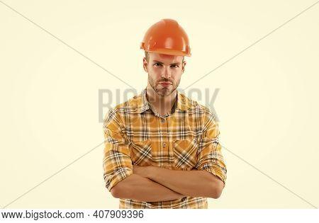 Creativity And Practice. Man Builder Hard Hat. Handyman At Workshop. Confident Strict Guy. Keep Head