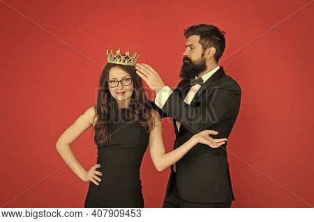 Prom Queen. Bearded Man Crown Sexy Girl. Coronation Party. Prom Couple In Formal Style. Prom Party.