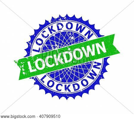 Vector Lockdown Bicolor Stamp Seal With Distress Style. Blue And Green Colors. Flat Stamp With Lockd