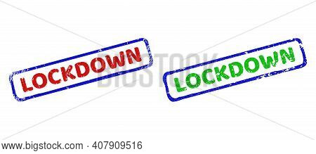 Vector Lockdown Framed Watermarks With Corroded Surface. Rough Bicolor Rectangle Watermarks. Red, Bl