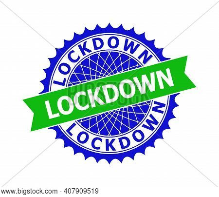 Vector Lockdown Bicolor Template For Imprints With Clean Surface. Flat Clean Seal Template With Lock