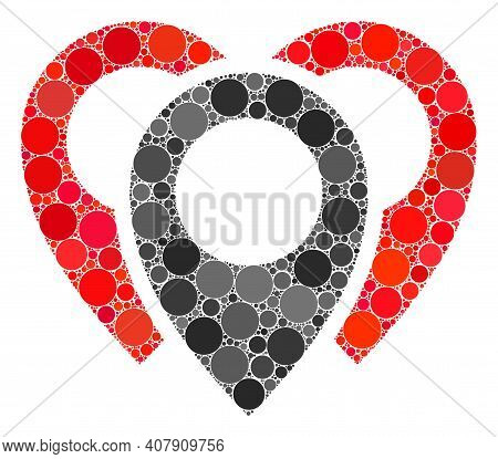 Map Markers Vector Mosaic Of Round Dots In Various Sizes And Color Tints. Round Dots Are Combined In