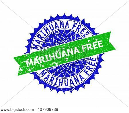 Vector Marihuana Free Bicolor Stamp Seal With Grunge Texture. Blue And Green Colors. Flat Stamp With