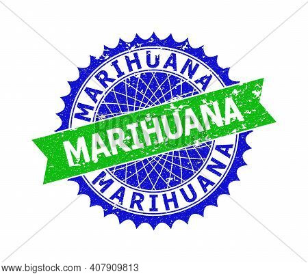 Vector Marihuana Bicolor Stamp Seal With Rubber Surface. Blue And Green Colors. Flat Seal Stamp With