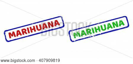 Vector Marihuana Framed Rubber Imitations With Grunged Surface. Rough Bicolor Rectangle Stamps. Red,