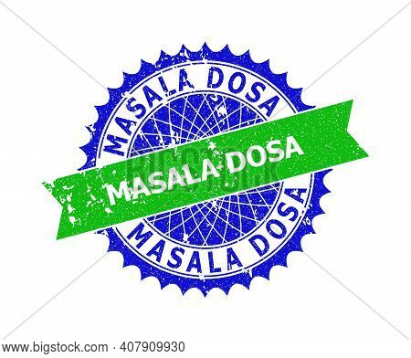 Vector Masala Dosa Bicolor Stamp Seal With Grunge Texture. Blue And Green Colors. Flat Seal Stamp Wi