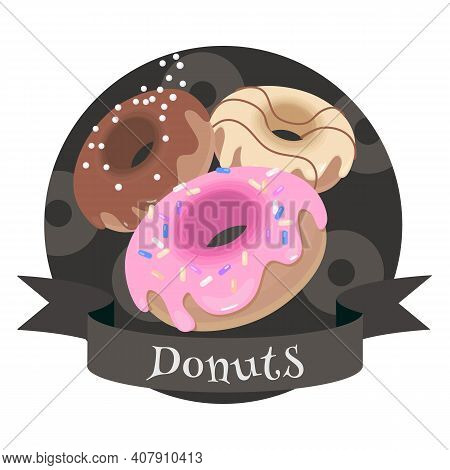 Sweet Donuts. Colorful Cartoon Style Illustration For Cafe, Bakery, Restaurant Menu Or Logo And Labe