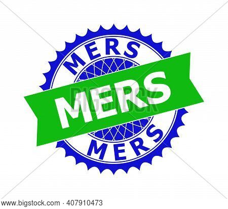 Vector Mers Bicolor Template For Watermarks With Clean Surface. Flat Clean Seal Stamp With Mers Mess