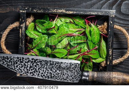 Raw Chard Leaves, Mangold, Swiss Chard In A Wooden Tray. Black Wooden Background. Top View