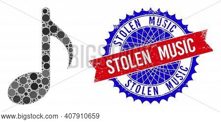Music Note Vector Mosaic Of Sharp Rosettes And Stolen Music Textured Stamp Print. Bicolor Stolen Mus