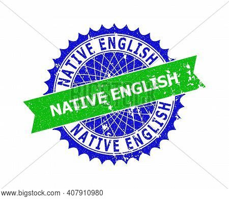 Vector Native English Bicolor Watermark With Grunge Style. Blue And Green Colors. Flat Watermark Wit