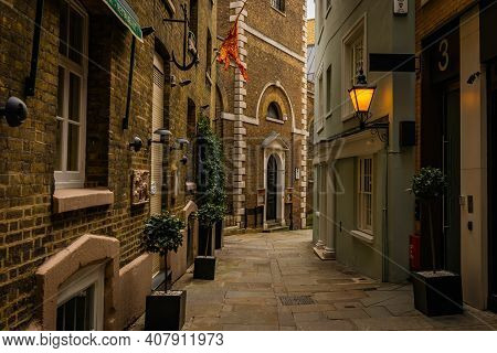 London, United Kingdom - February 2021 - Small, Narrow, Charming Street In The City Centre Of London