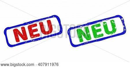 Vector Neu Framed Watermarks With Scratched Texture. Rough Bicolor Rectangle Seals. Red, Blue, Green