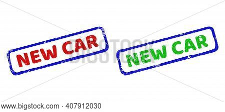 Vector New Car Framed Watermarks With Scratched Style. Rough Bicolor Rectangle Watermarks. Red, Blue
