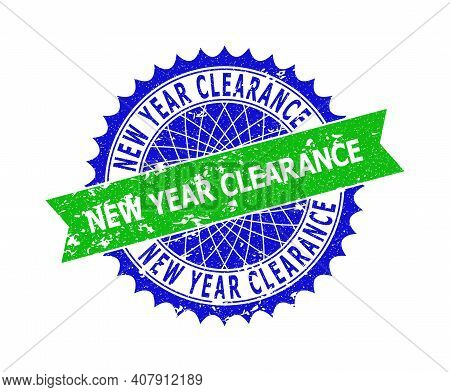 Vector New Year Clearance Bicolor Stamp Seal With Grunge Texture. Blue And Green Colors. Flat Seal I