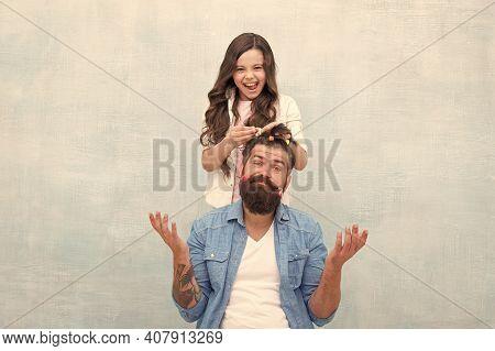 Ideas To Entertain Kids During Quarantine. Family Leisure Concept. Girl Dad Hairdo. Quarantine With