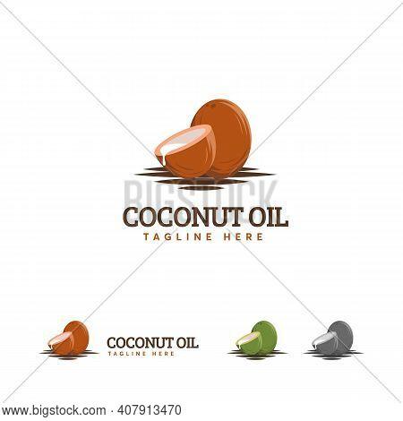 Coconut Oil Logo Designs, Brown Coconut Logo Symbol