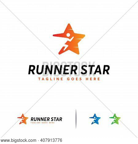 Runner Star Logo Designs Concept Vector, Fast Runner Logo Template