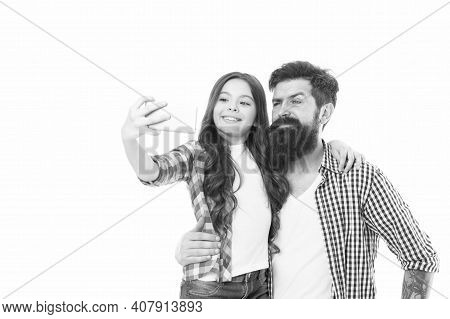 Father And Daughter Taking Selfie. 4g Technology. Blogger Kid. Blogger Concept. Life Online. Blogger