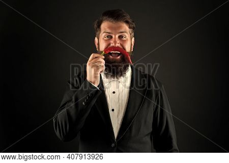 Handsome Macho Likes Taste. Man Hold Pepper Harvest. Barber Funny Face. Pepper Mustache. Bearded Bus