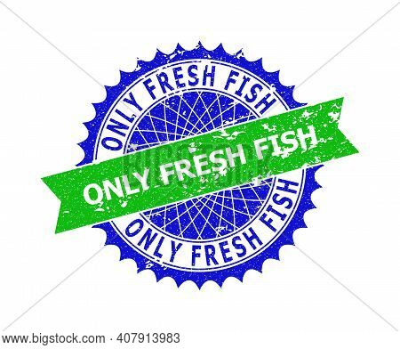 Vector Only Fresh Fish Bicolor Stamp Seal With Rough Texture. Blue And Green Colors. Flat Seal Stamp