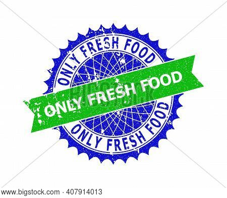 Vector Only Fresh Food Bicolor Stamp Seal With Rough Style. Blue And Green Colors. Flat Stamp With O