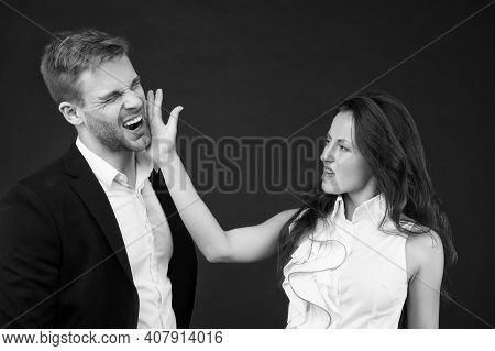 Abuse At Work. Angry Woman Slap Man In Face. Using Physical Abuse In Workplace. Physical Harm. Cowor