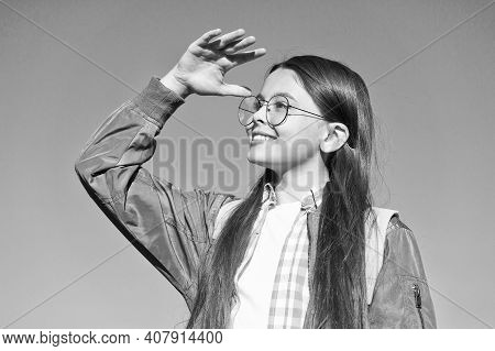 What A Sight. Happy Girl In Glasses Look Into Distance On Blue Sky. Sense Of Sight. Vision Care And