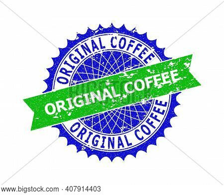 Vector Original Coffee Bicolor Stamp Seal With Unclean Surface. Blue And Green Colors. Flat Seal Sta