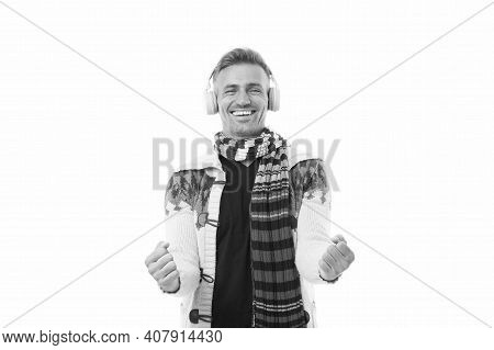 Male Preferences In Music. Dancing To His Favorite Song. Happy Mature Unshaven Man Wear Scarf. Male