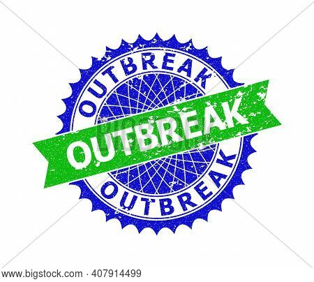 Vector Outbreak Bicolor Seal With Distress Style. Blue And Green Colors. Flat Seal With Outbreak Tex