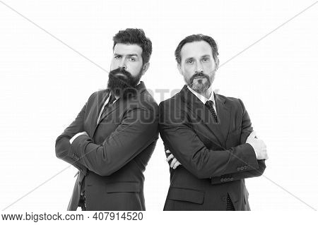Partnership Of Boss Men Isolated On White. Collaboration And Teamwork. Men Have Own Business. Busine