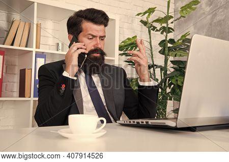 Mobile Call Negotiations. Logistics Department. Crisis Solution. Crisis Management. Crisis Concept.