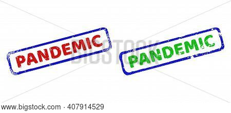 Vector Pandemic Framed Watermarks With Scratched Surface. Rough Bicolor Rectangle Stamps. Red, Blue,