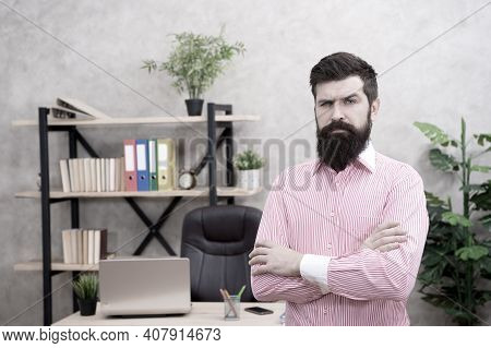 Confident Bearded Man In Office. Confident Businessman. Office Life. Serious Bearded Man At Workplac