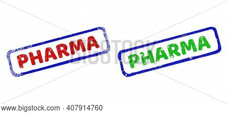 Vector Pharma Framed Rubber Imitations With Grunged Surface. Rough Bicolor Rectangle Stamps. Red, Bl