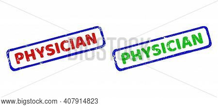 Vector Physician Framed Watermarks With Unclean Texture. Rough Bicolor Rectangle Stamps. Red, Blue,