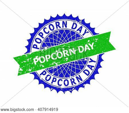 Vector Popcorn Day Bicolor Stamp Seal With Corroded Texture. Blue And Green Colors. Flat Stamp With