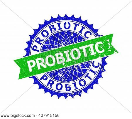 Vector Probiotic Bicolor Seal With Distress Surface. Blue And Green Colors. Flat Seal Imprint With P