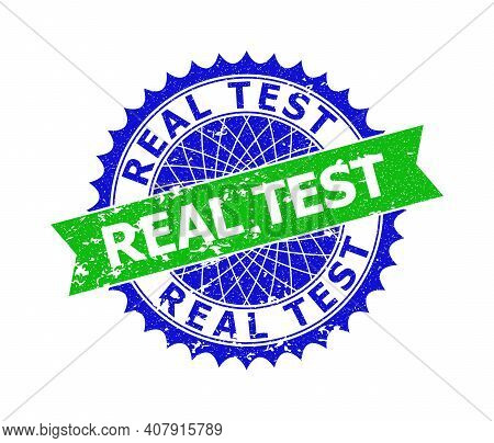 Vector Real Test Bicolor Seal With Corroded Style. Blue And Green Colors. Flat Seal With Real Test P