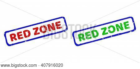 Vector Red Zone Framed Imprints With Distress Texture. Rough Bicolor Rectangle Seal Stamps. Red, Blu
