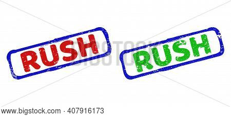 Vector Rush Framed Watermarks With Grunge Texture. Rough Bicolor Rectangle Seals. Red, Blue, Green C