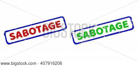 Vector Sabotage Framed Watermarks With Scratched Texture. Rough Bicolor Rectangle Stamps. Red, Blue,