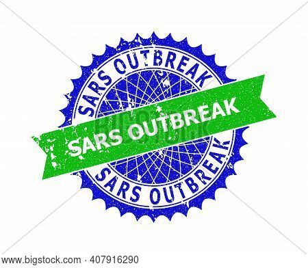 Vector Sars Outbreak Bicolor Watermark With Corroded Texture. Blue And Green Colors. Flat Watermark