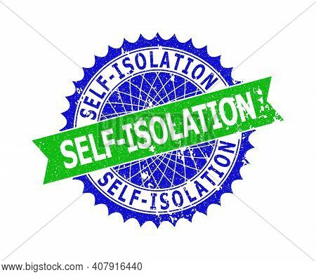 Vector Self-isolation Bicolor Stamp Seal With Grunge Texture. Blue And Green Colors. Flat Seal Stamp
