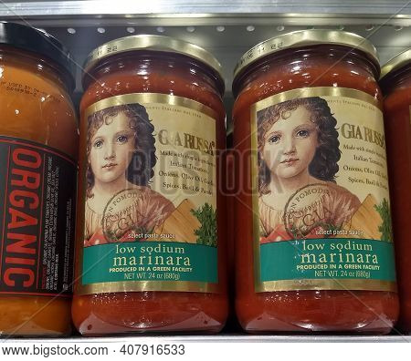 Jars Of Low Sodium Marinara Sauce In A Grocery Store For Illustrative Editorial