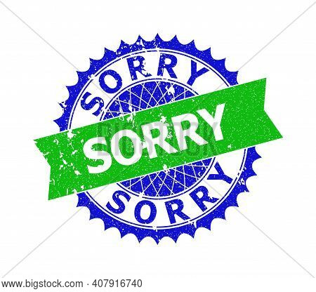 Vector Sorry Bicolor Watermark With Unclean Surface. Blue And Green Colors. Flat Watermark With Sorr