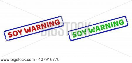 Vector Soy Warning Framed Watermarks With Corroded Style. Rough Bicolor Rectangle Seal Stamps. Red,