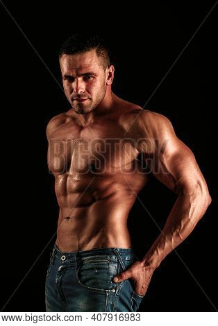 Naked Guy In Denim Jeans. Nude Male Torso. Sexy Muscular Man. Topless Muscular Fitnes Model. Sexy Na